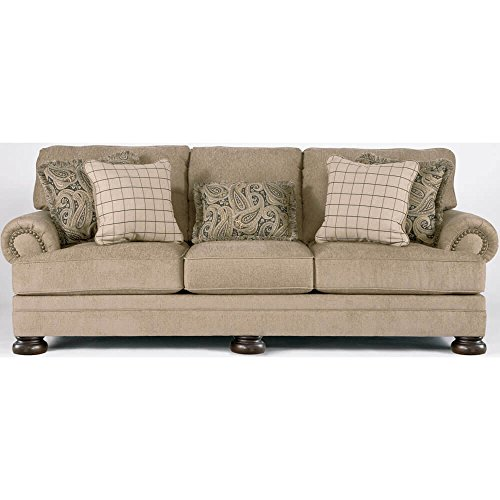 Ashley Furniture Signature Design – Keereel Sofa with 5 Pillows – 3 Seats with Plush Upholstery – Traditional – Sand