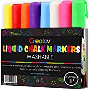 Liquid Chalk Board Window Markers - 8 Pack Erasable Pens Great for Chalkboards - Non Toxic Safe & Easy to Use Neon Bright & Vibrant Colors for All Ages Creatov