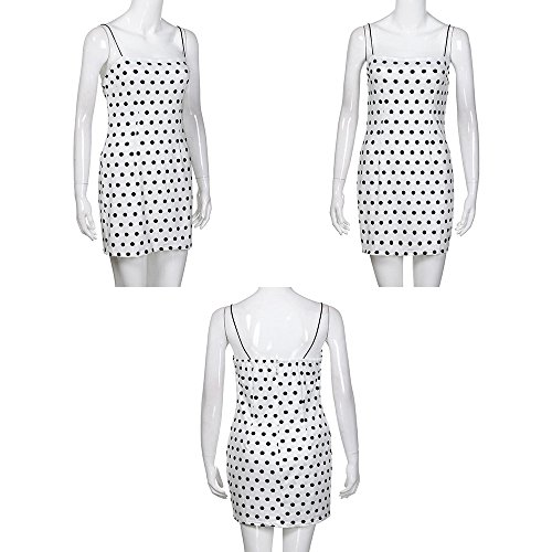 Bodycon Dot Mini Dress ❤️ Dress White Casual Womnen's Summer Mini Strap Alonea pqwaHfH