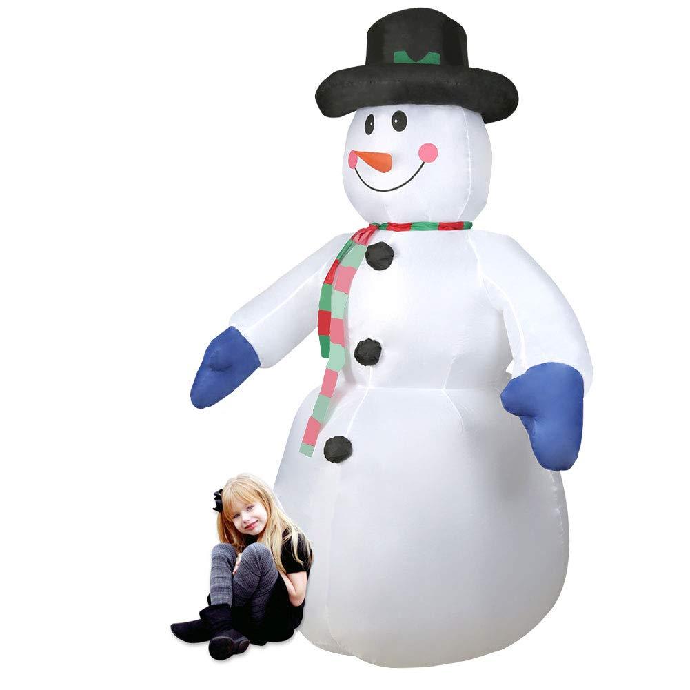 Addobbo e Decorazione Natalizia CCLIFE Pupazzo di neve gonfiabile carina comico Colore:Bianco007-120cm Con Illuminazione a LED e Kit Fissaggio