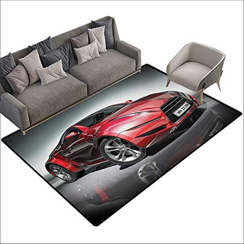 Door mat Increase Cars Modern Era Sports Car Designed for Spirited Performance and Fast Speed Racing Print W63 xL94 Suitable for Bedroom, Living Room, Games Room, Foyer or Dining Room