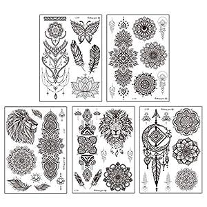 Anjetan Tattoo Sticker UniqueMandala Temporary Flowers 5 Sheets Assorted Fashion Plastic DIY Tattoo Decal Body Art Arm…