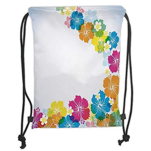 - Custom Printed Drawstring Sack Backpacks Bags,Luau,Vibrant Colorful Border Design with Blossoming Hibiscus Polynesian Springtime Aloha Decorative,Multicolor Soft Satin,5 Liter Capacity,Adjustable Stri