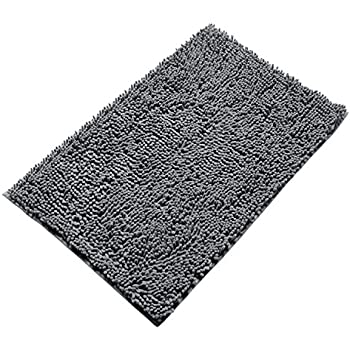 Soft Microfiber Shag Bath Rug Non-slip Bathroom Mat 20 x 32 Inches (Grey)