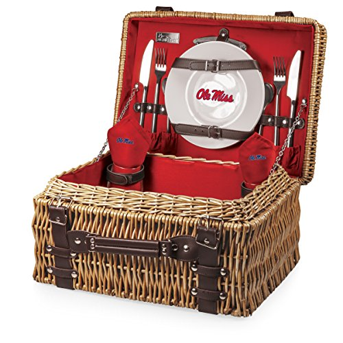 NCAA Mississippi Old Miss Rebels Champion Picnic Basket with Deluxe Service for Two, Red