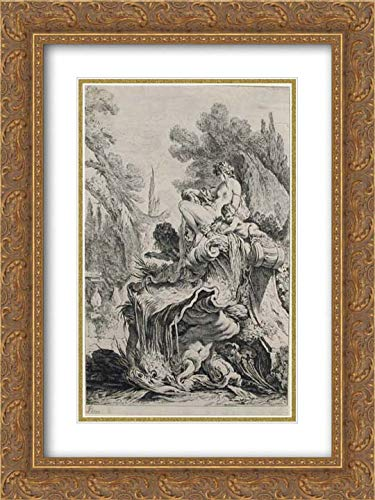 Jean-Baptiste Marie Pierre - 28x40 Gold Ornate Frame and Double Matted Museum Art Print - Fountain with a Naiad Seated on a Shell (Une Fontaine avec une naiade assise sur une conque)
