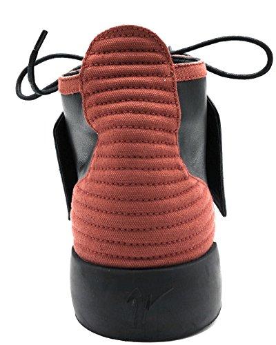 Giuseppe Zanotti Zwart / Rood Kalfs Lederen Jeti Panelen Hoge Sneaker (15 Us / 48 Eu)