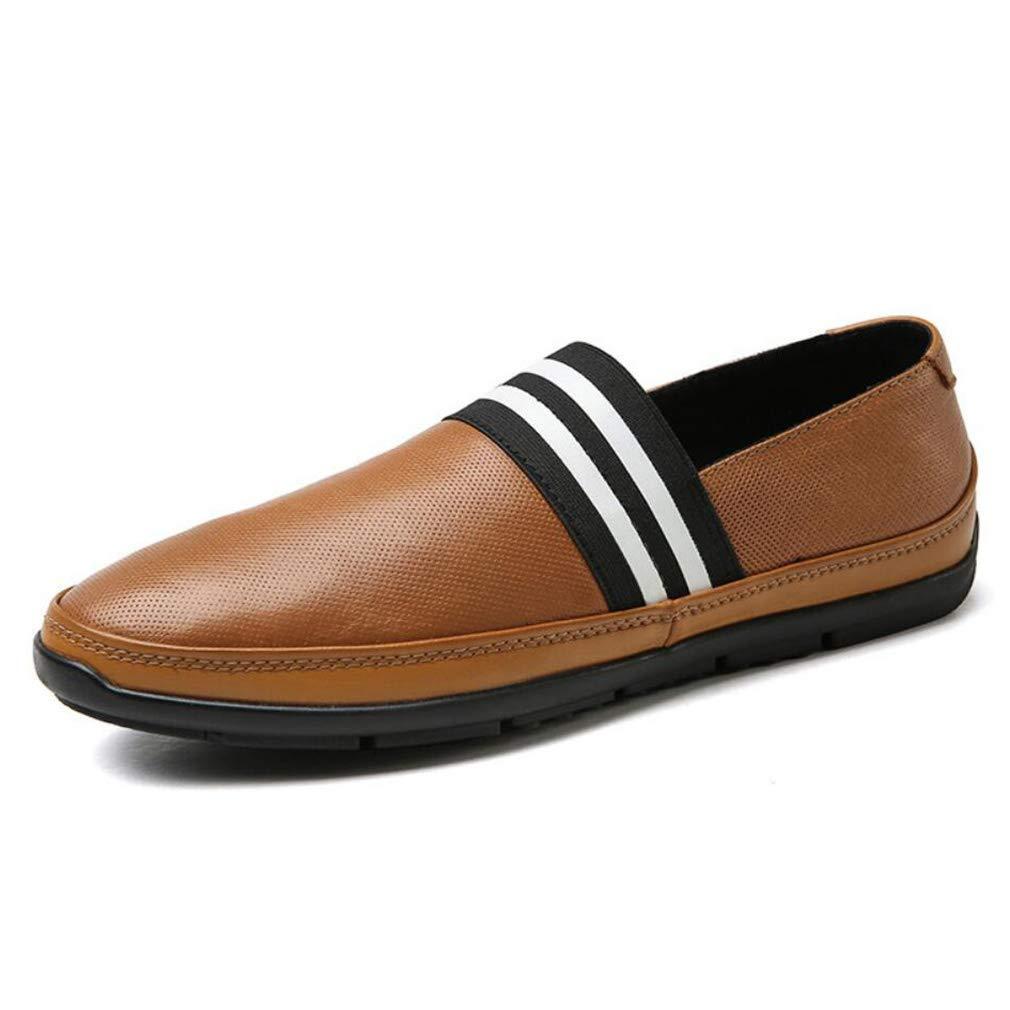 FuweiEncore Mocasines Hombres Mocasines de Cuero para Primavera/otoño y Zapatillas sin Cordones/Zapatillas de conducción/Zapatos Perezosos Negro/Azul ...