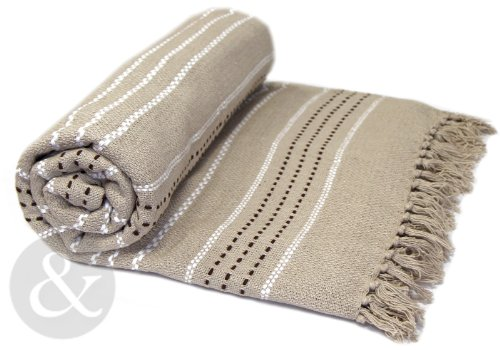 """100% COTTON Woven Heavy Weight Luxury Thermal Throw Over - Sofa / Bed Blanket Natural ( beige light brown ) Double - 229cm x 254cm (90"""" x 100"""") extra large"""