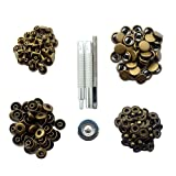 CrazyEve Leathercraft Copper Press Studs Snap Fasteners Poppers Sewing Clothing Snaps Button 40 pcs With Fixing Tool (633(12.5mm)) Bronze