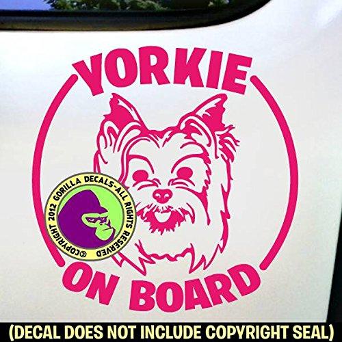 The Gorilla Farm YORKIE ON BOARD Dog Yorkshire Terrier Breed Pet Love Vinyl Decal Sticker Car Window Bumper Wall Laptop Sign PINK