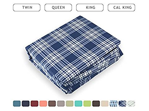 Luxe Bedding Bed Sheet Set - Brushed Microfiber 2000 Count Plaid - Wrinkle, Fade, Stain Resistant - Hypoallergenic - 4 Piece - Hotel Quality - Unique Presents for family (King, Plaid / Navy)