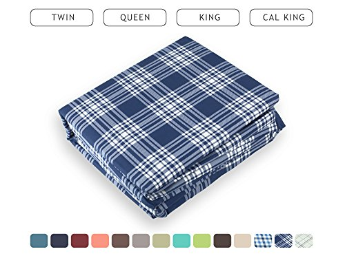 Luxe Bedding Bed Sheet Set - Brushed Microfiber 2000 Count Plaid - Wrinkle, Fade, Stain Resistant - Hypoallergenic - 4 Piece - Hotel Quality - Unique Presents for family (King, Plaid / Navy) (Plaid Sheet Set)