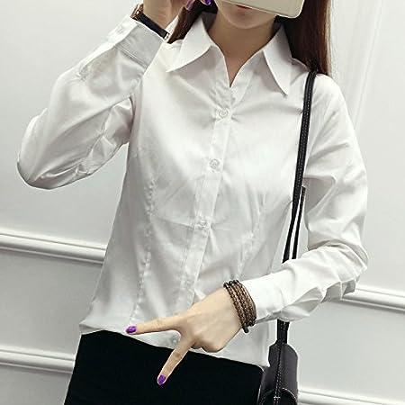 XXIN Hembra Long-Sleeved Camisa Blanca de Vestir Mono de ...