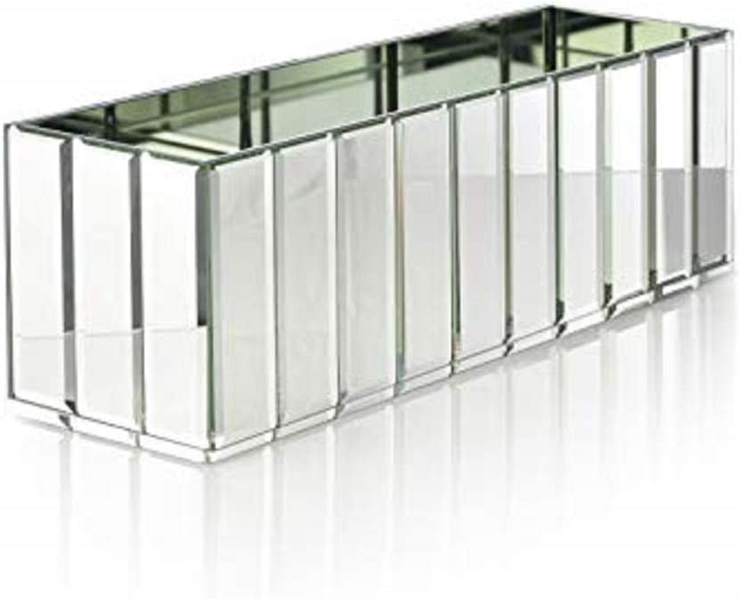 Serene Spaces Living Oblong Gatsby Mirror Vase Great Gatsby Inspired Luxe Glass Vase with Bevel Edged Mirror Strips, Use for Home D cor, Event Centerpieces, 15 3 4 L x 4 3 4 W x 4 3 4 H