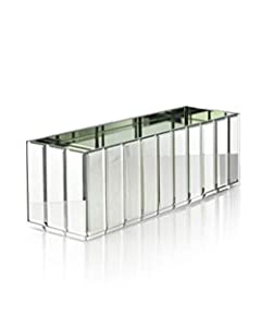 """Serene Spaces Living Oblong Gatsby Mirror Vase – Great Gatsby Inspired Luxe Glass Vase with Bevel Edged Mirror Strips, Use for Home Décor, Event Centerpieces and Much More, 15 3/4"""" L x 4 3/4"""" W x 4 3/"""