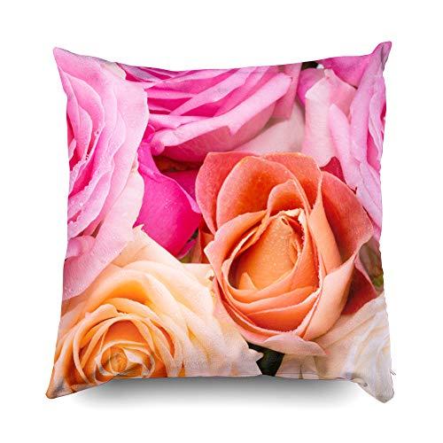 Shorping Zippered Pillow Covers Pillowcases 18X18 Inch Assorted Roses Pink Yellow Orange Creamy Colors Decorative Throw Pillow Cover,Pillow Cases Cushion Cover for Home Sofa Bedding (Roses 18 Assorted)