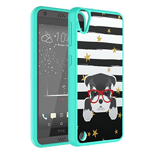 HTC Desire 530 Case, Desire 550 Case, Desire 555 Case, Capsule-Case Hybrid Slim Hard Back Shield Case with Fused TPU Edge (Mint) for HTC Desire 530/550/555/630 - (Miniature Schnauzer) (Miniature 555)