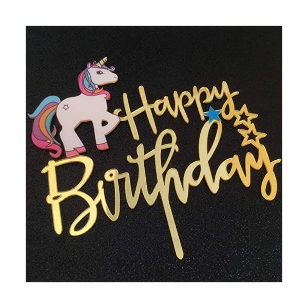 Matt Time Unicorn Happy Birthday Cake Topper Glitter for Kids Boys Girls Party Decorations Gold Acrylic 5