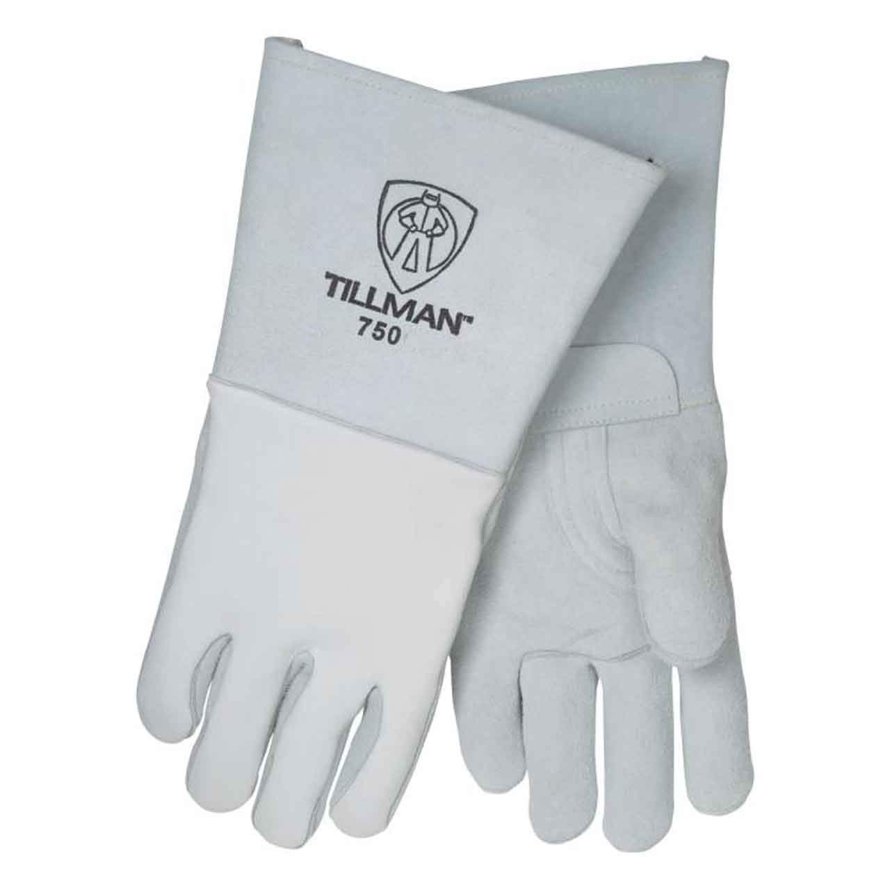 John Tillman and Co 750XL 14'' Top Grain Elk Cotton/Foam Lined Welders Gloves with Straight Thumb, Stiff Cowhide Cuff, Welted Fingers, Kevlar Stitching and Pull Tab (Carded), X-Large, Pearl Gray