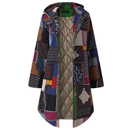 Women Vintage Plus Size Hooded Long Sleeve Coat Ladies Fleece Thicken Outwear Button Long Overcoat Duseedik Navy