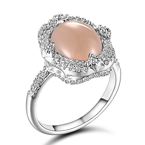 Caperci Women's Sterling Silver Oval Solitaire Gemstone Natural Pink Opal Ring Size 8