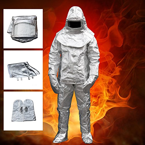 Carejoy Welding Apron,Thermal Radiation 1000 Degree Heat Resistant Aluminized Suit Fireproof Clothes Safety Cloth