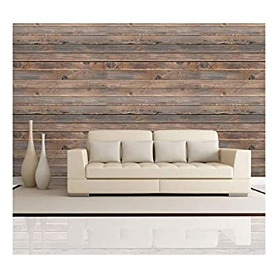 Wall26 - Horizontal Brown Vintage and Retro Wood Textured Paneling - Wall Mural, Removable Wallpaper, Home Decor - 100x144 inches