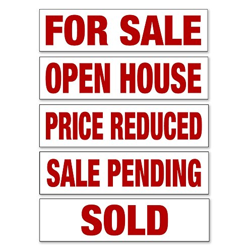 BUNDLE OF 5 Real Estate Sign Riders: For Sale, Open House, Price Reduced, Sale Pending, Sold 6