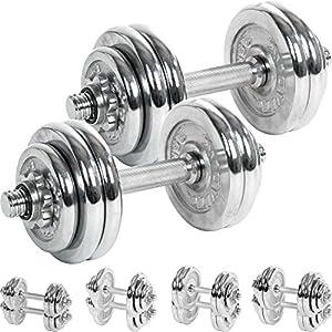 MOVIT® Chrom Gusseisen Kurzhantel 2er Set, Varianten 30kg, 40kg, 50kg, 60kg,...