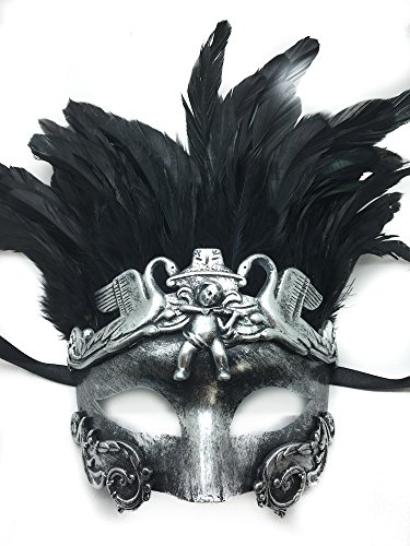 Gold or Silver Antique Roman Egyptian Greek Ancient God Mardi Gras Style Masquerade Mask with Feather (Silver)