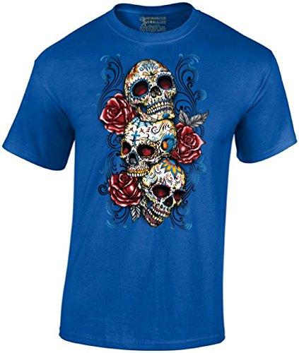 Men's Sugar Skulls and Roses Tshirt Day of Dead Halloween Shirt M Blue]()