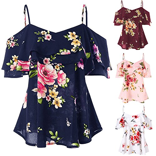 Peize Women Floral Summer Tops, Floral Print Off Shoulder Vintage Sleeveless Vest Shirt Fashion Tank Tops Blouse
