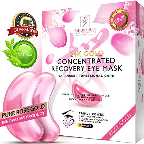 (Eye Pads 24k Rose Gold Eye Mask Anti-Aging Hyaluronic Acid Eye Patches Pink Under Eye Mask for Moisturizing & Reducing Dark Circles Puffiness Wrinkles)