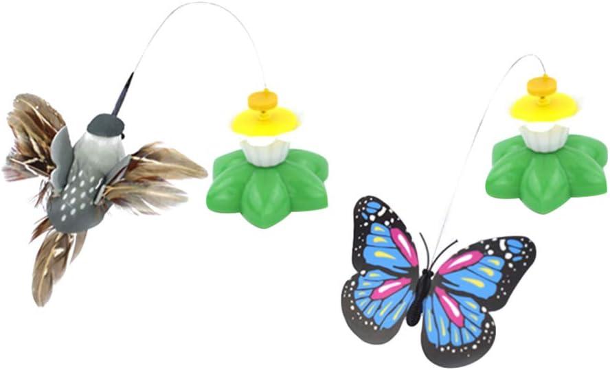 POPETPOP 2 Piezas de Juguete para burlas de Gato Juguete de Mariposa Giratorio y colibrí para Mascotas Juguetes interactivos para Gato Kitty Juguetes Suministros sin batería (Color Aleatorio)
