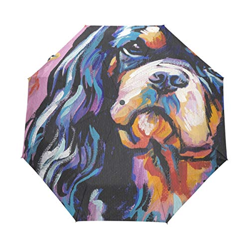 Spaniel Umbrella - HLive Travel Umbrella Cavalier King Charles Spaniel Dog Auto Open Compact Folding Sun & Rain Protection Umbrella with UV Protection Windproof