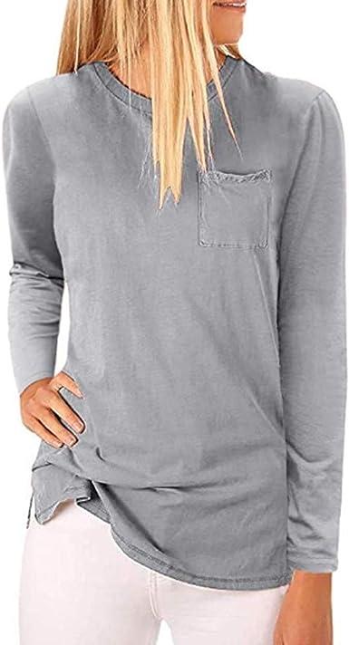 AIni Tops De Mujer Camisa De AlgodóN Blusa para Mujer Camisolas Mujer Moda para Mujer Verano OtoñO Cuello Redondo Manga Larga Color Puro Gran TamañO Bolsillo En El Pecho: Amazon.es: Ropa y