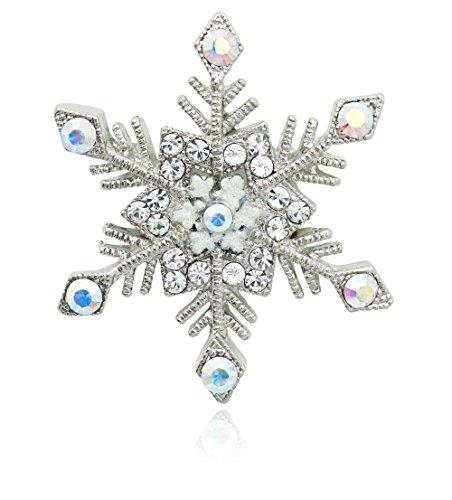 Swarovski Snowflake Pin - Akianna Silver-tone Swarovski Element Crystals Snowflake Pin Brooch
