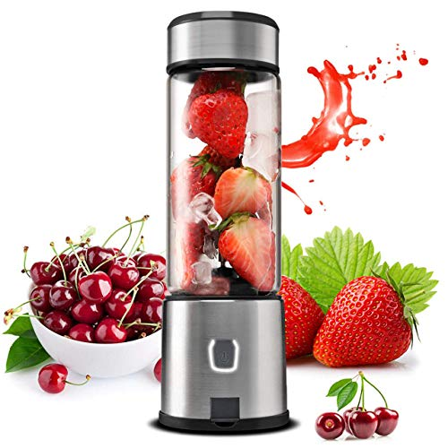 Portable Blender Glass, TTLIFE Small Smoothie Blender Single Serve, Personal Blender USB Rechargeable, Mixer Juicer Cup Portable Travel Blender Cordless with 5200mAh Rechargeable Battery for Shakes and Smoothies, Baby Food, FDA, BPA Free-Black (The Best Juicer Blender)