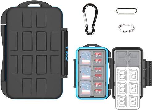 VKO SD SDHC SDXC Micro SD Carte mémoire SD Support Organisateur de Boîte de rangement Résistant à l'eau Anti-chocs Protection pour Appareil Photo ...