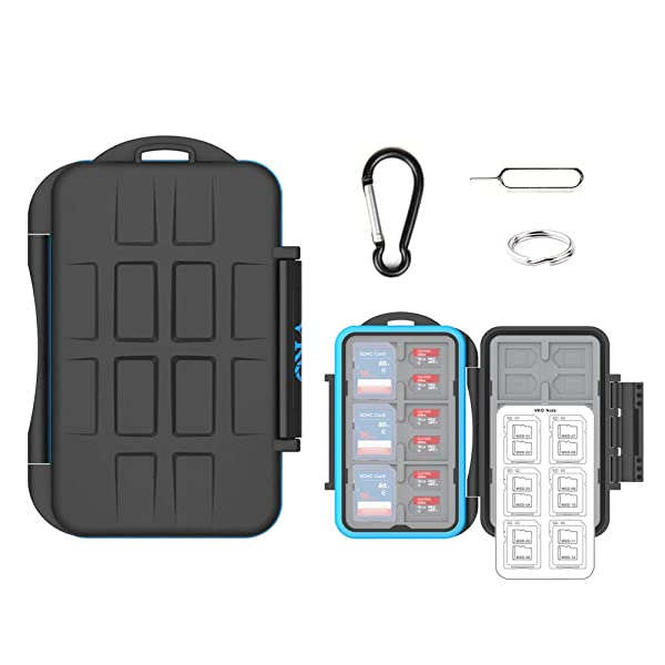 (36 Slots) VKO SD SDHC SDXC Micro SD TF Memory Card Case Holder Organizer Carrying Box Keeper,Shockproof Storage Protector Cover for Computer Camera Media 12 SD Cards & 24 Micro SD Cards (Color: Black Small Carabiner & Card)