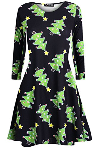 Womens Ladies Christmas Xmas Reindeer Santa Penguin Snowman Party Swing Dress
