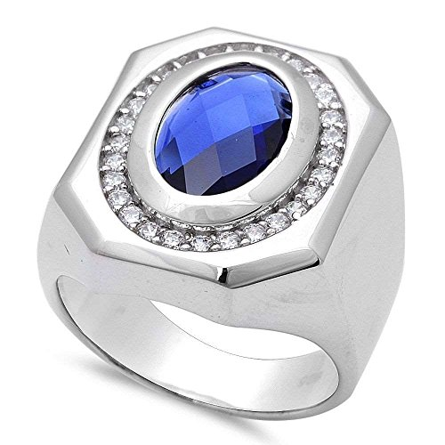 Men's Simulated Sapphire .925 Sterling Silver Ring Size 11 by Oxford Diamond Co