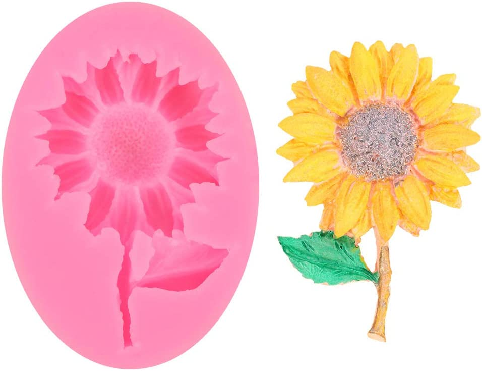Sunflower Small Flower for DIY Cake Fondant Baking Biscuit Soap Tray 3D Hard Candies Candles Drop Glue Decor Silicone Mold Tool