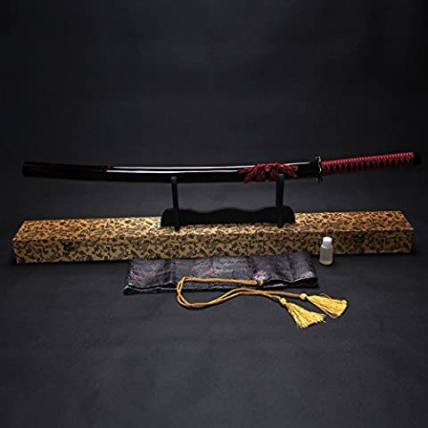 """Splendent Furniture 38"""" Handmade Japanese Full Tang Sword T1060 Carbon Steel Blade with Wooden Holder/Stand 4 Colors (Deep Wine Sheath & Yellow Box)"""
