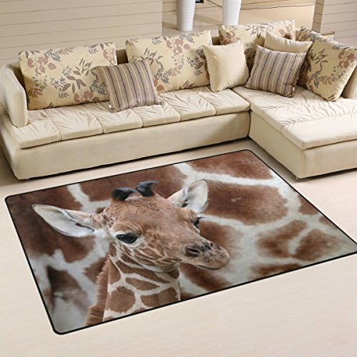 Yochoice Non-slip Area Rugs Home Decor, Stylish Funny Cute Giraffe Baby Animal Floor Mat Living Room Bedroom Carpets Doormats 60 x 39 inches