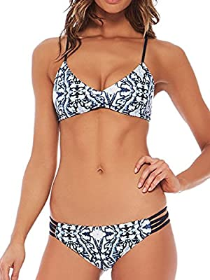 Blooming Jelly Women's Racerback Print String Bikini Swimsuit Bathing Suit