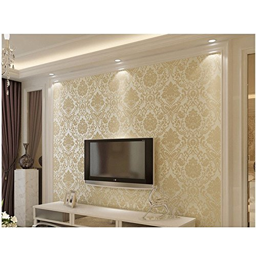- LOHOME European Style Embossed Damask Textured Bedroom Wallpaper Nonwovens Soft Roll Wall Sticker For Home Decoration
