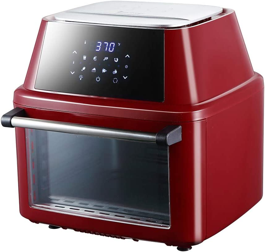 Large Air Fryer,16.9-Quarts Air Oven,Rotisserie Oven,1800W Electric Air Fryer Oven with LED Digital Touchscreen, All-in-One Rotisserie and Dehydrator, 8 Preset Quick Menus &8 Accessories (Claret-Red)