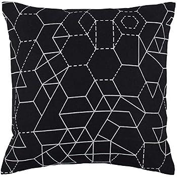 "Rivet Modern Geometric Print Pillow, 20"" x 20"" , Black"